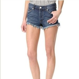 Free People Button Fly Distressed Jean Shorts 26